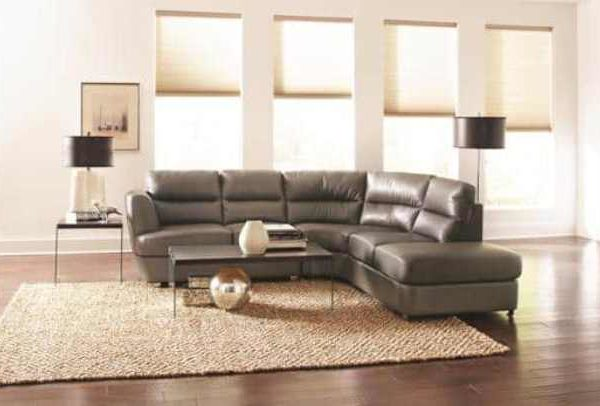Chaisson Contemporary Bonded Leather Sectional Sofa With Chaise