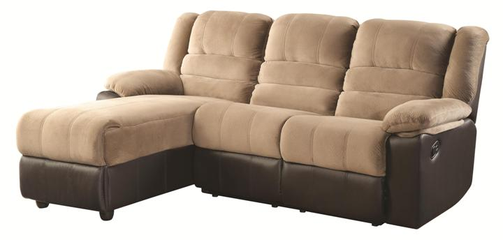 Huxley Two Tone Sectional Sofa With One Reclining Seat And