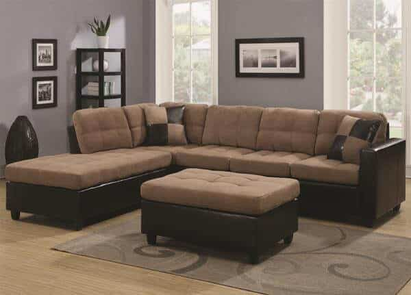 Mallory Reversible Sectional with Casual and Contemporary Style Tan ...