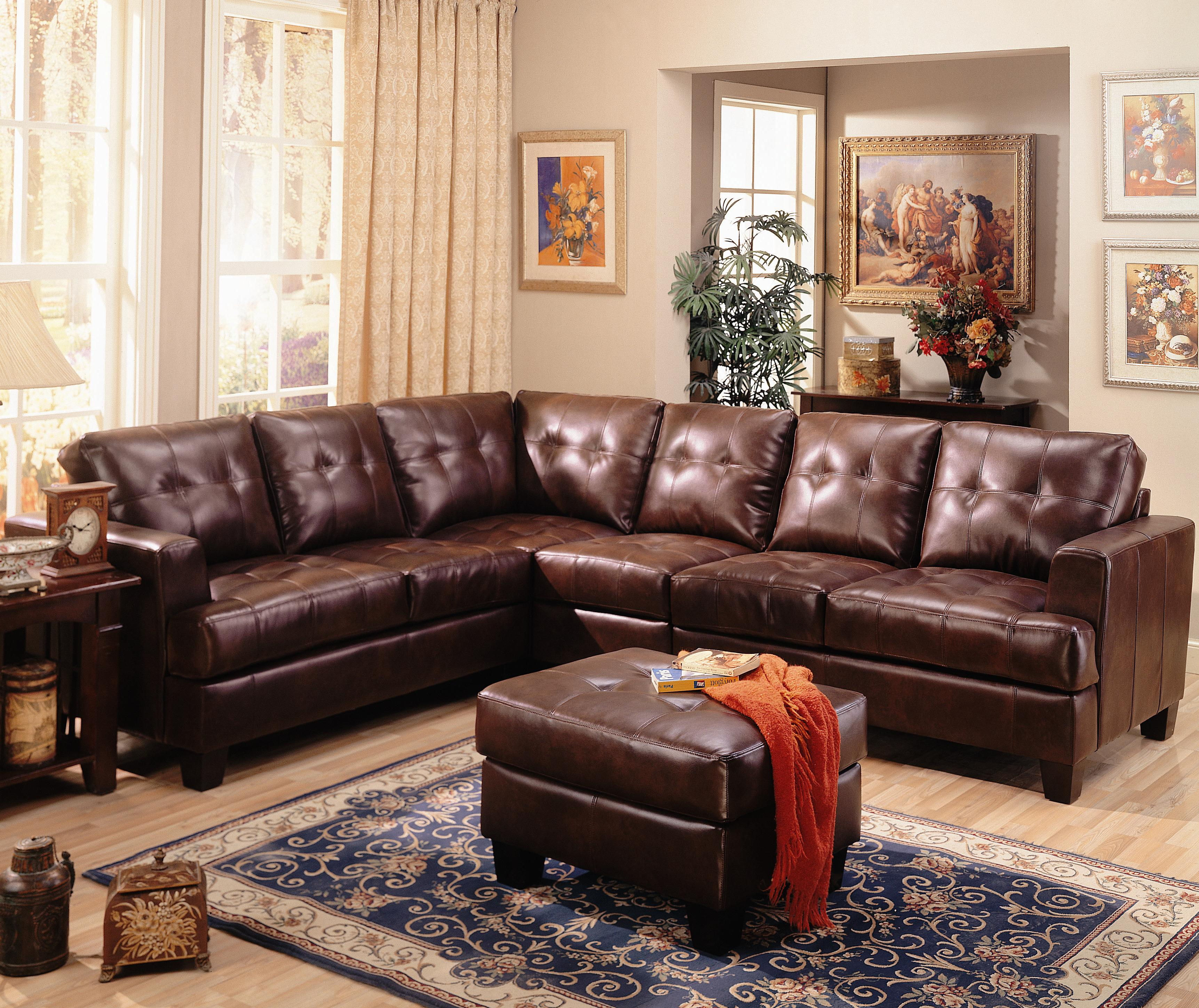 Samuel Contemporary Leather Sectional Sofa