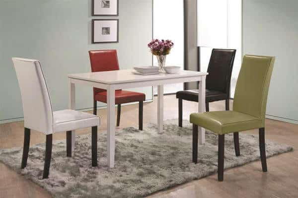 San Marcos Transitional 5 Piece Table Chair Set With Upholstered Seating