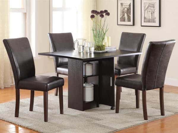 Silver Dining Table And Chairs, Vista Dining 5 Piece Table Set With Drop Leaf Table All Nations Furniture