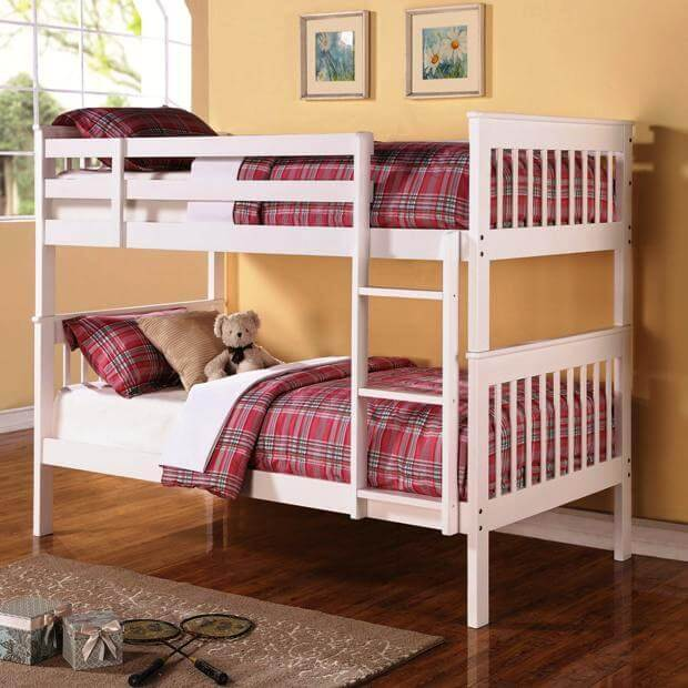 Twin Over Twin Bunk Bed With Full Length Guard Rails All