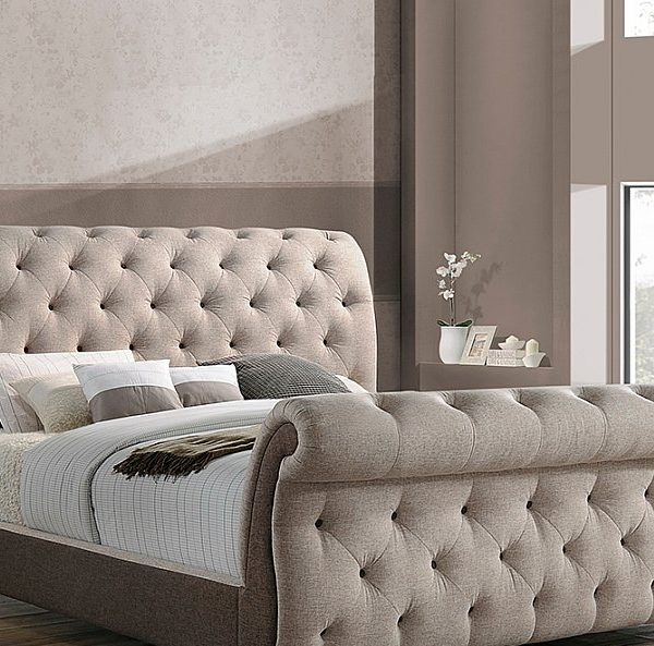 Bombay Style Upholstered Bed In A Beige Linear Fabric Bed