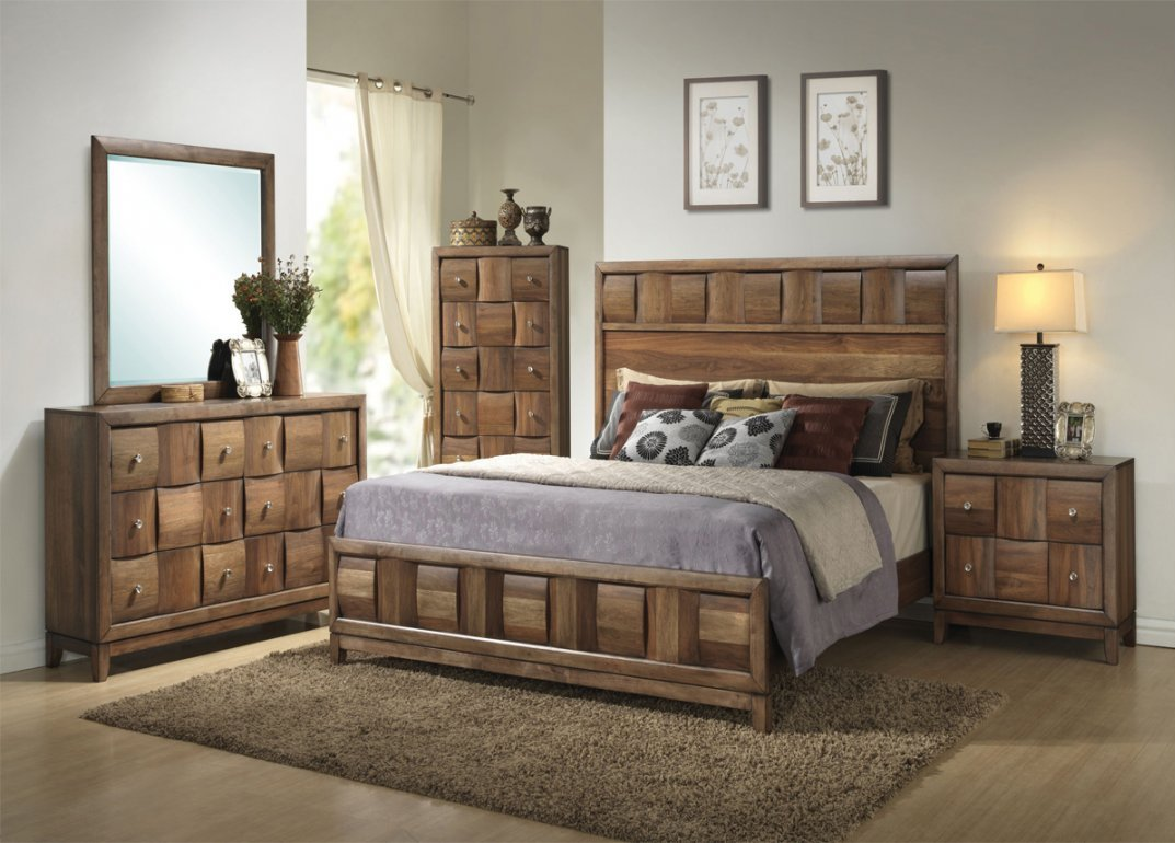 Contemporary Walnut Style 5 Piece Bedroom Group