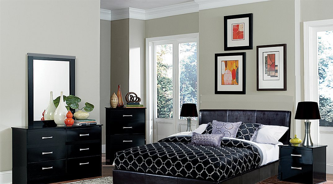 Contemporary Styling 5 Piece Bedroom Group In Black Finish All Nations Furniture