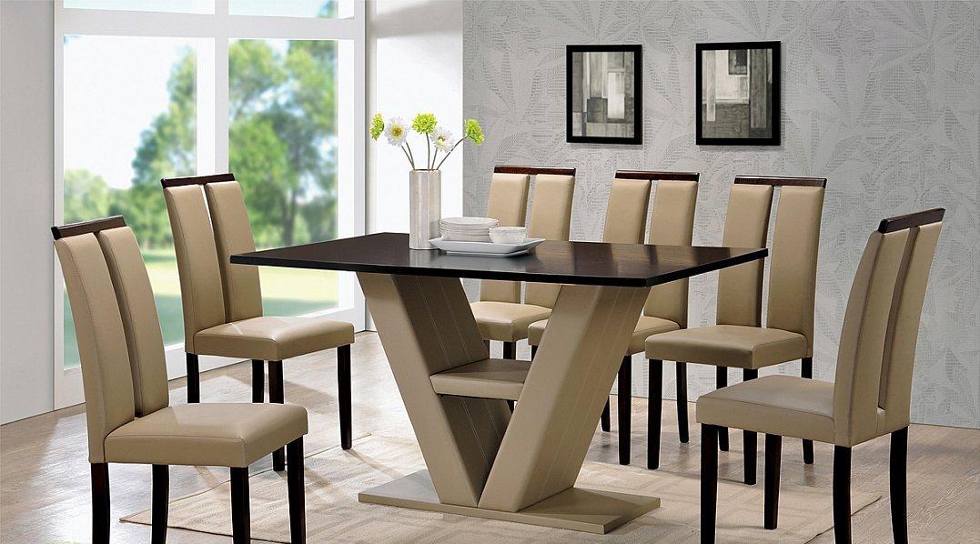 V Shaped Table Base 5 Piece Dinette Set, Modern Style Dining Room Table