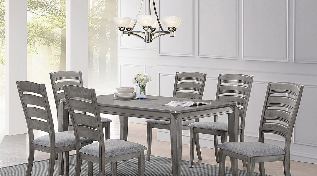 Casual Dining Style In An Antique Grey Finish 5 Piece