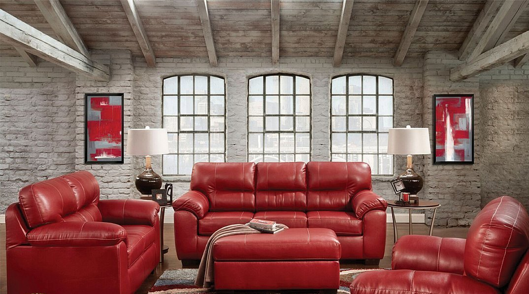 Red Contemporary Style Sofa Loveseat Set