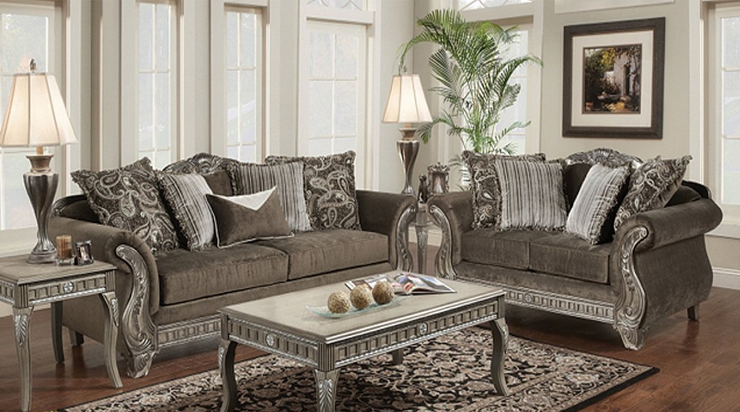 Pewter Color Texture Fabric Traditional Styling Sofa