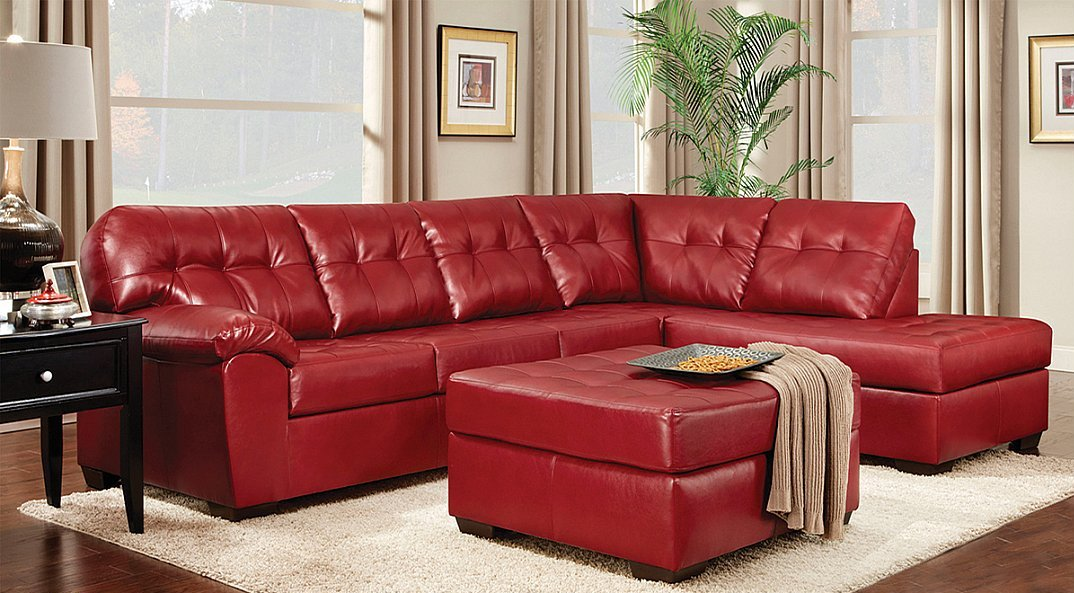 Red Bonded Leather Sectional All