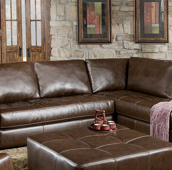 U150 Soft Leather Two Piece Sectional