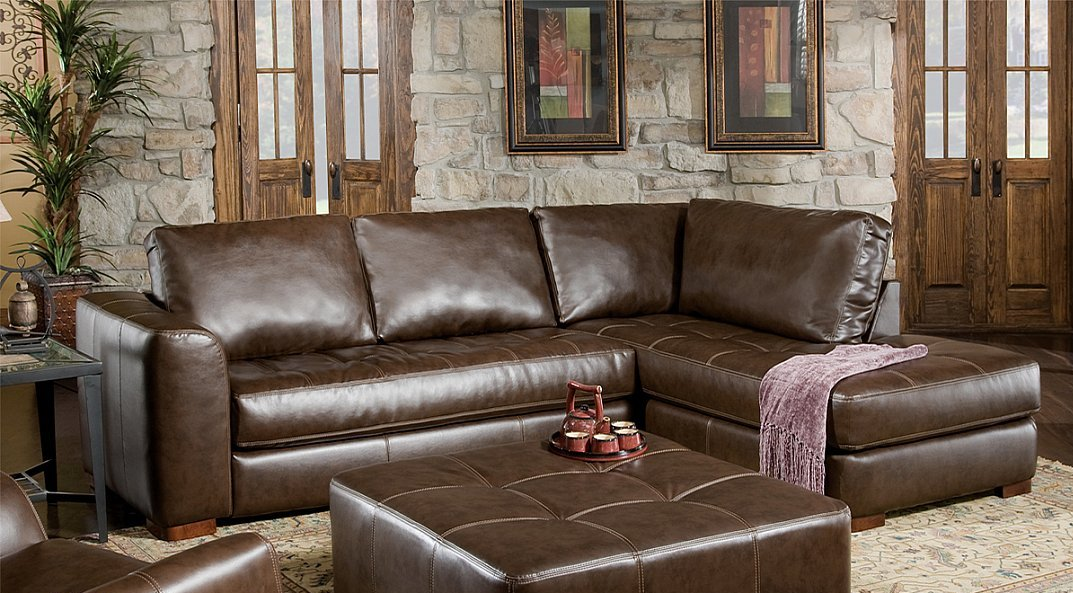 Brown Soft Bonded Leather Sectional