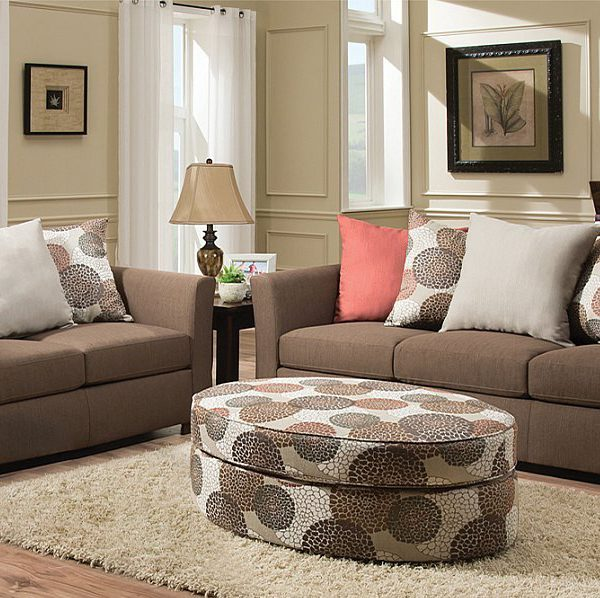 Brown Textured Fabric Modern Style Sofa Loveseat