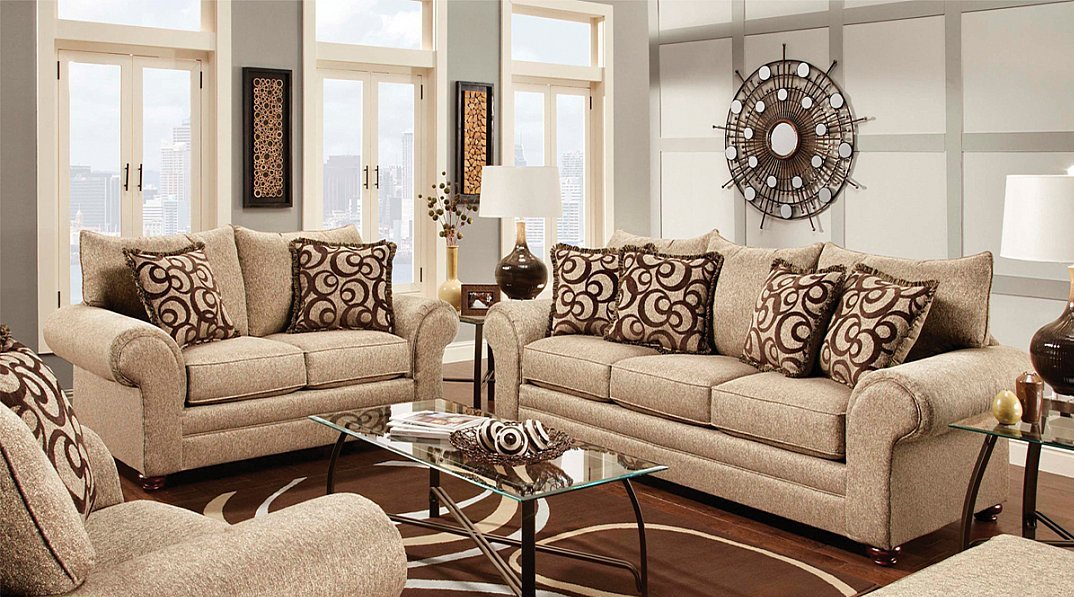 Multi colored tan and brown textured fabric traditional styling sofa loveseat all nations for Living room furniture trinidad