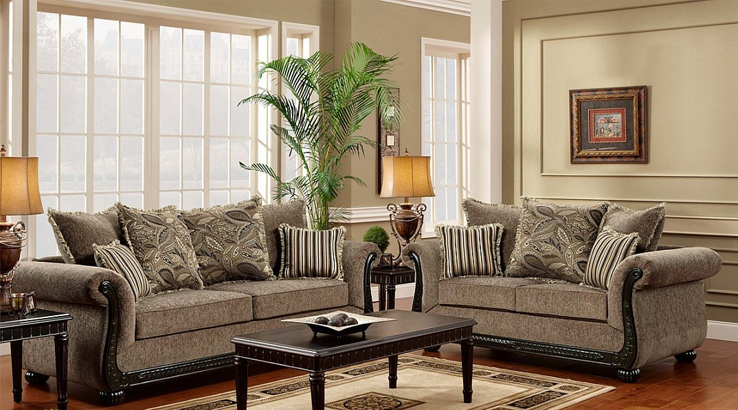 Amazing Soft Taupe Color Chenille Fabric Traditional Styling Sofa Loveseat Andrewgaddart Wooden Chair Designs For Living Room Andrewgaddartcom