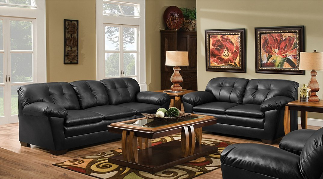 Black Bonded Leather Contemporary Styling Sofa Loveseat