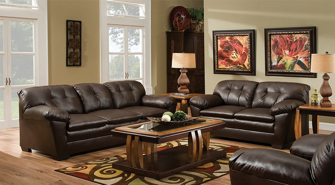 Brown Bonded Leather Contemporary Styling Sofa Loveseat