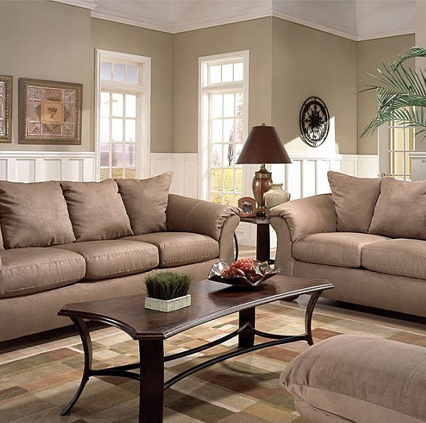 Camel Microfiber Fabric Large Scale Modern Style Sofa