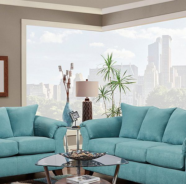 Turquoise Microfiber Modern Style Sofa And Loveseat All