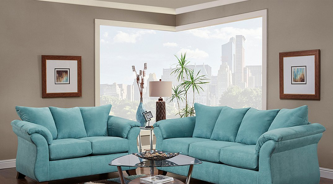 Turquoise Microfiber Modern Style Sofa and Loveseat – All Nations ...