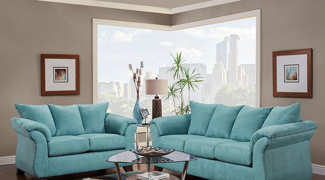 Turquoise Microfiber Modern Style Sofa