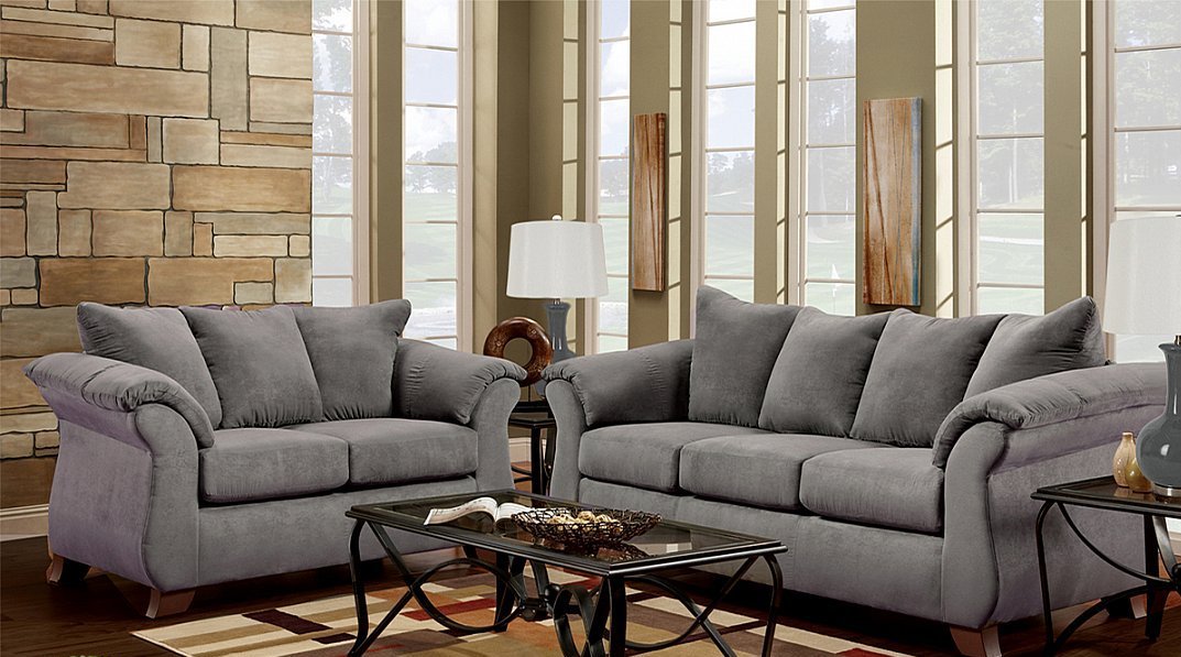 Grey Microfiber Fabric Sofa Loveseat