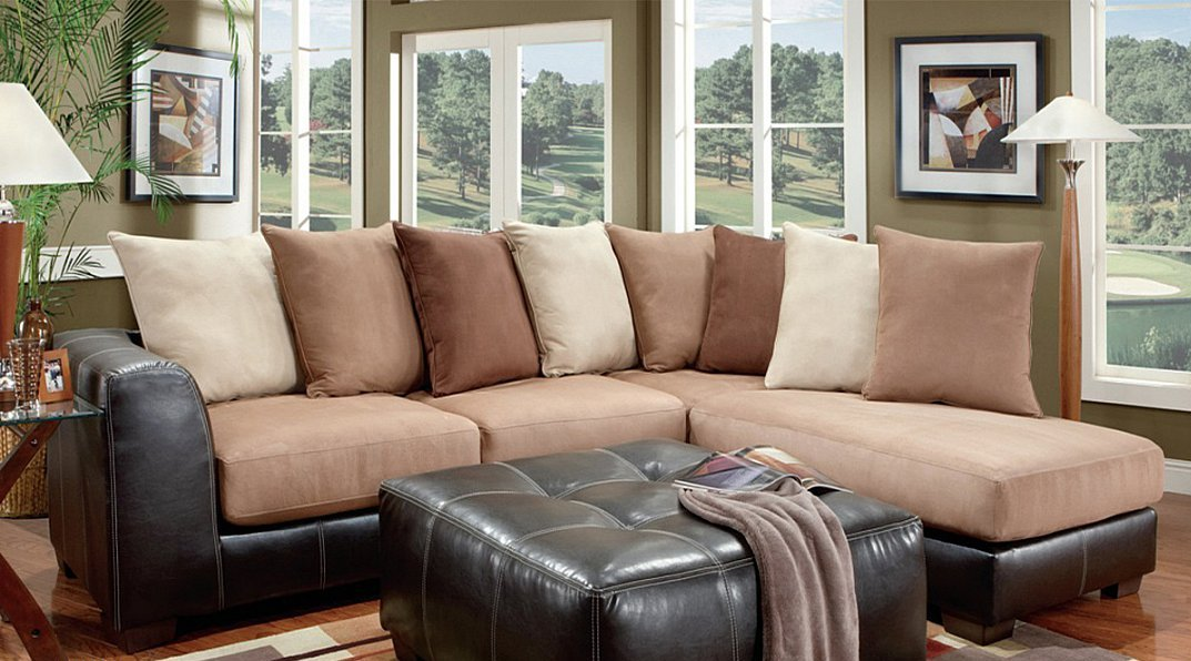 Jumbo Size Contemporary Two Piece Chaise Sectional All Nations Furniture