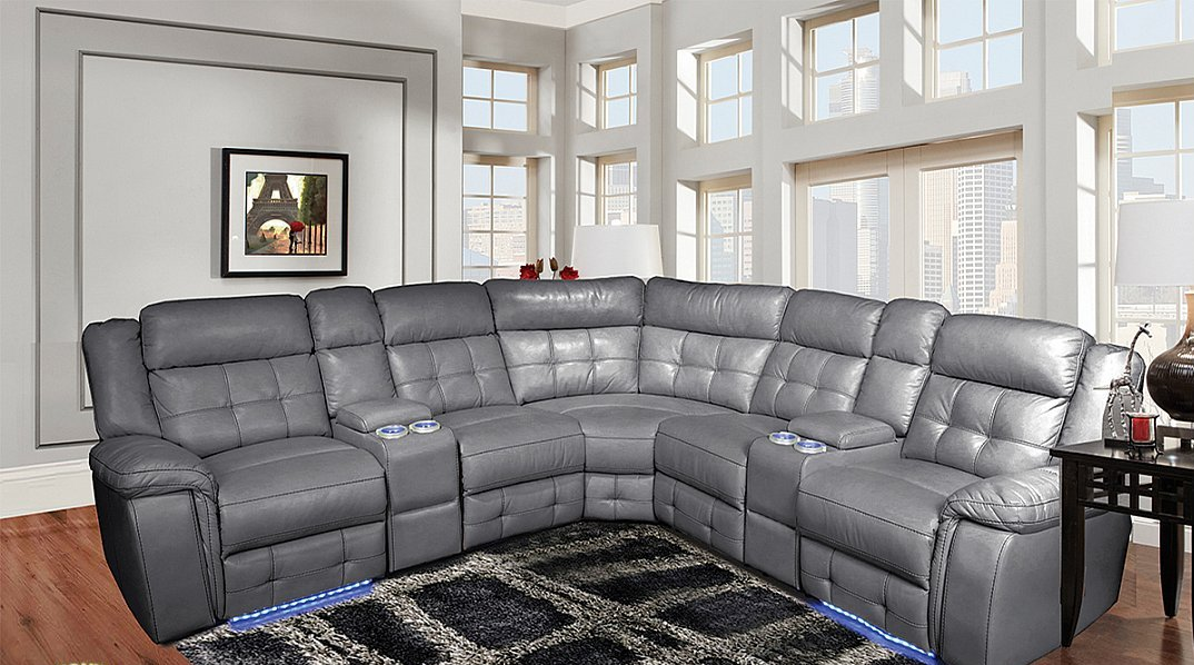 3 Piece Power Motion Sectional in a Grey Leather Gel ...