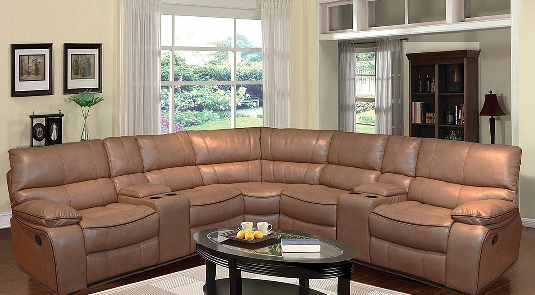 3 Piece Power Motion Sectional With Reclining Ends In A Caramel Leather Gel Fabric All Nations Furniture