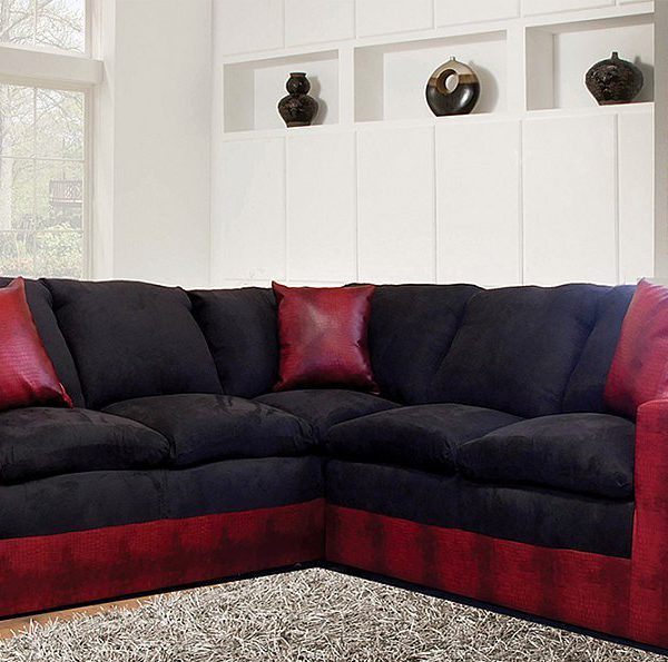 Contemporary Style In Two Tone Black And Red Microfiber Sectional All Nations