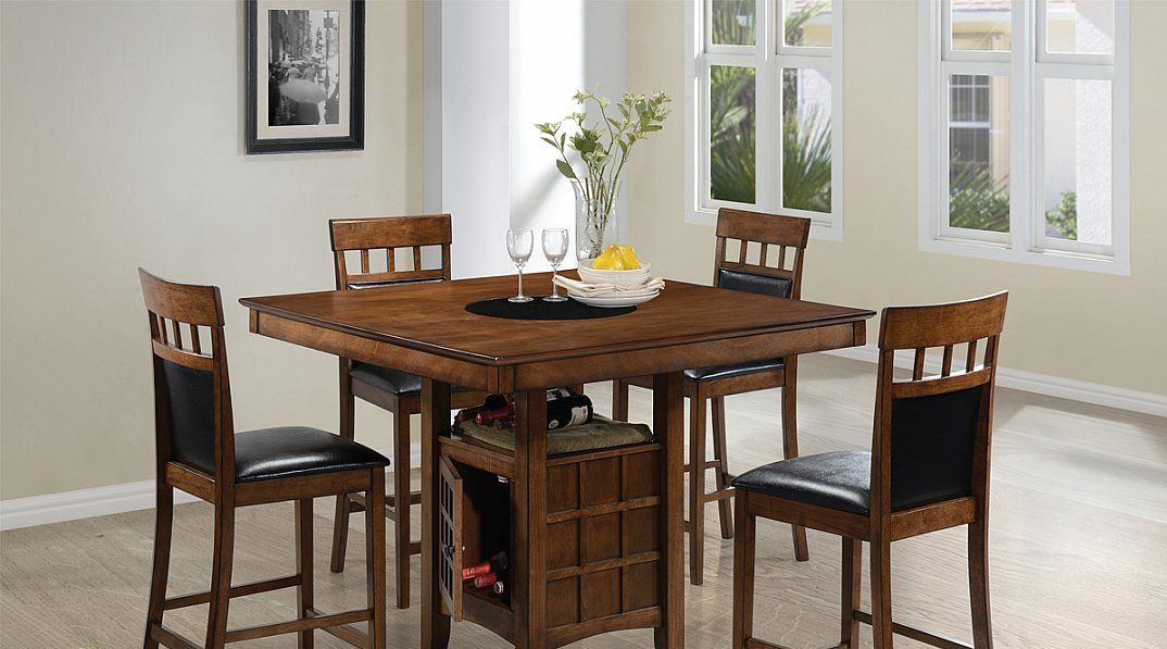 Contemporary 5 Piece Pub Style Dinette, Dining Room Sets Pub Style