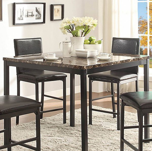 Pub Style Dining Set: Contemporary 5 Piece Pub Style Dinette Set With Faux