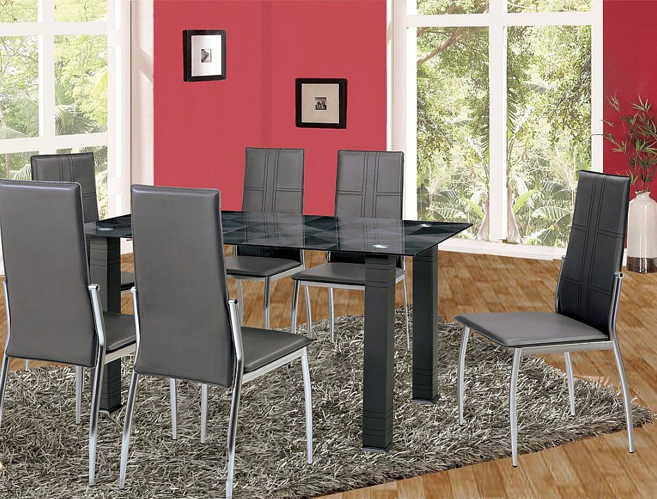 Ultra Modern Grey Designed Tempered Glass Top 5 Piece Dining Set