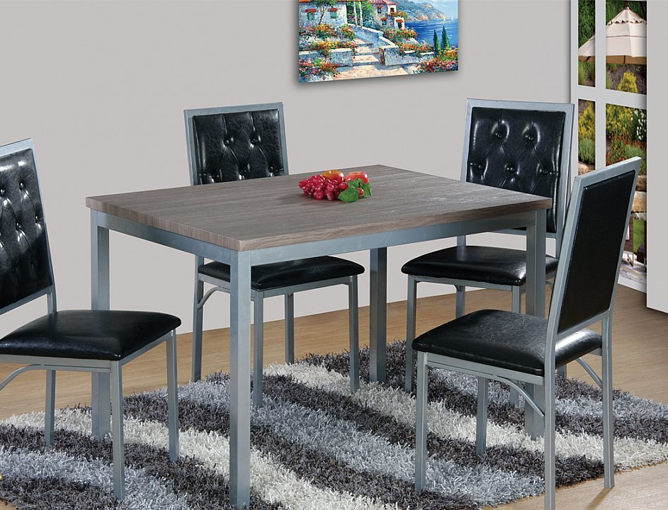 Modern Style With A Weathered Grey Table Top 5 Piece Dining Set