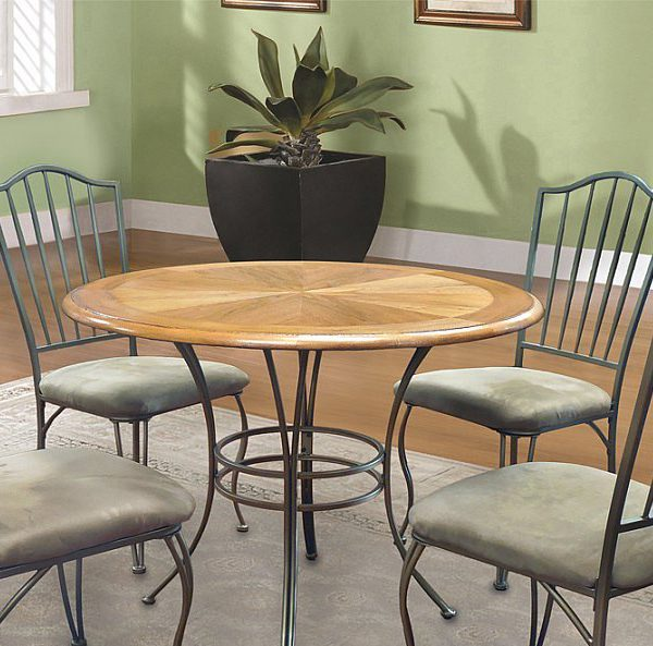 Round Table Top In A Fancy Wood Veneer Finish 5 Piece Dining Set