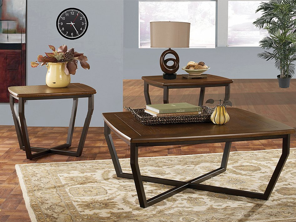 Contemporary Style In A Walnut Finish 3 Piece Occasional Table Set