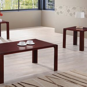 Contemporary Style In A Cherry Finish 3 Piece Occasional Table Set