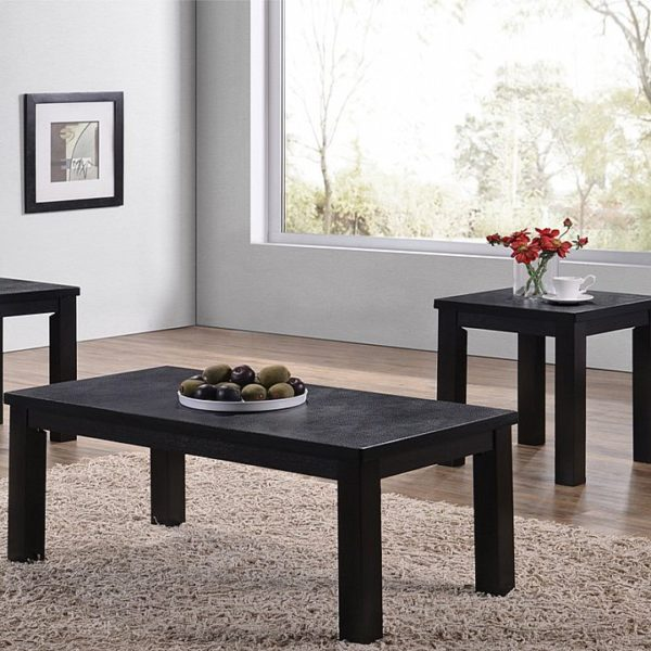 Contemporary Style In A Black Alligator Finish 3 Piece Occasional Table Set