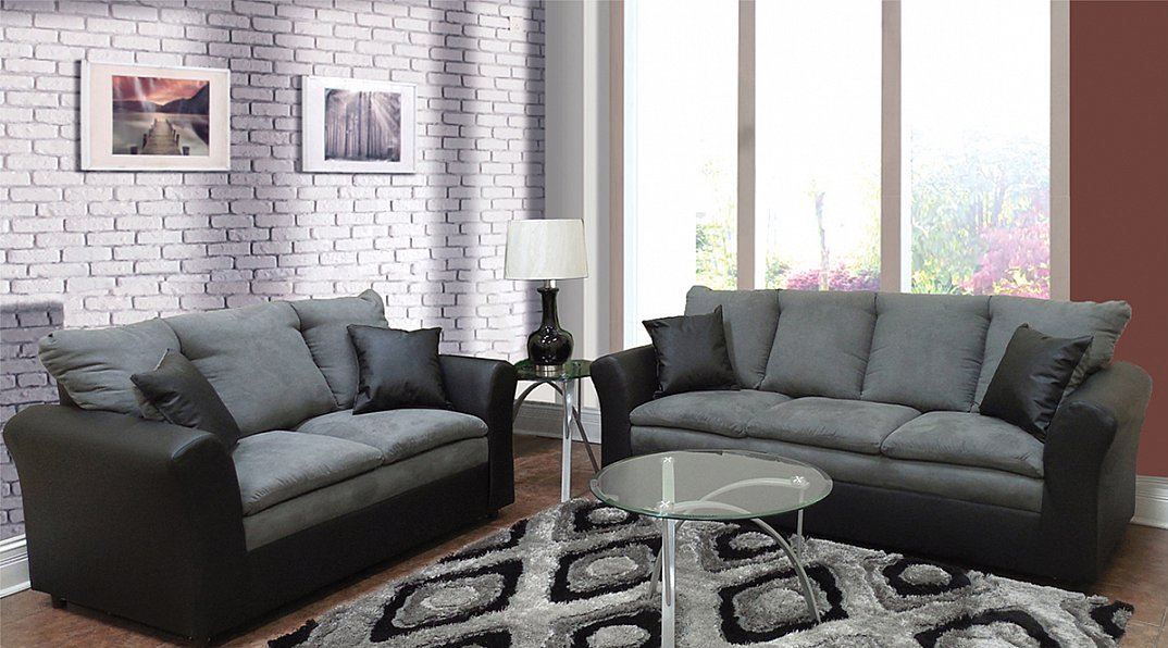 Contemporary Styling in a Two Tone Black pu with Grey Microfiber Sofa  Loveseat