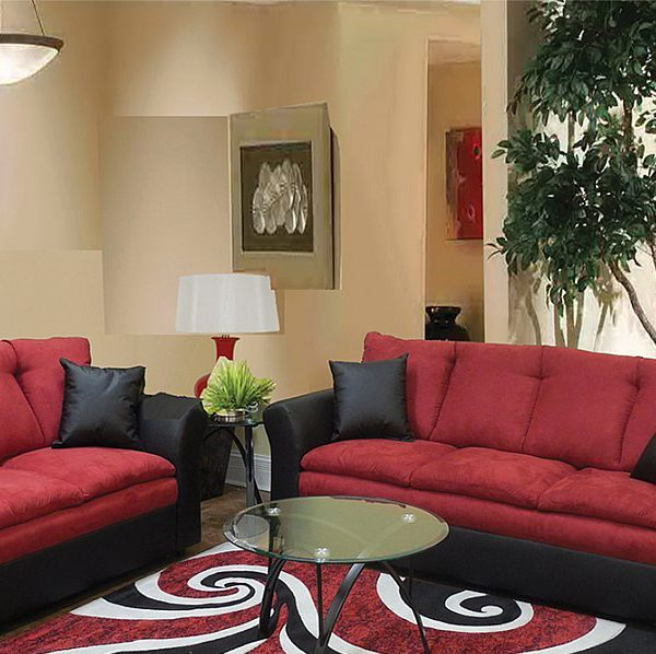 Contemporary Styling In A Two Tone Black Pu With Red Microfiber Sofa  Loveseat