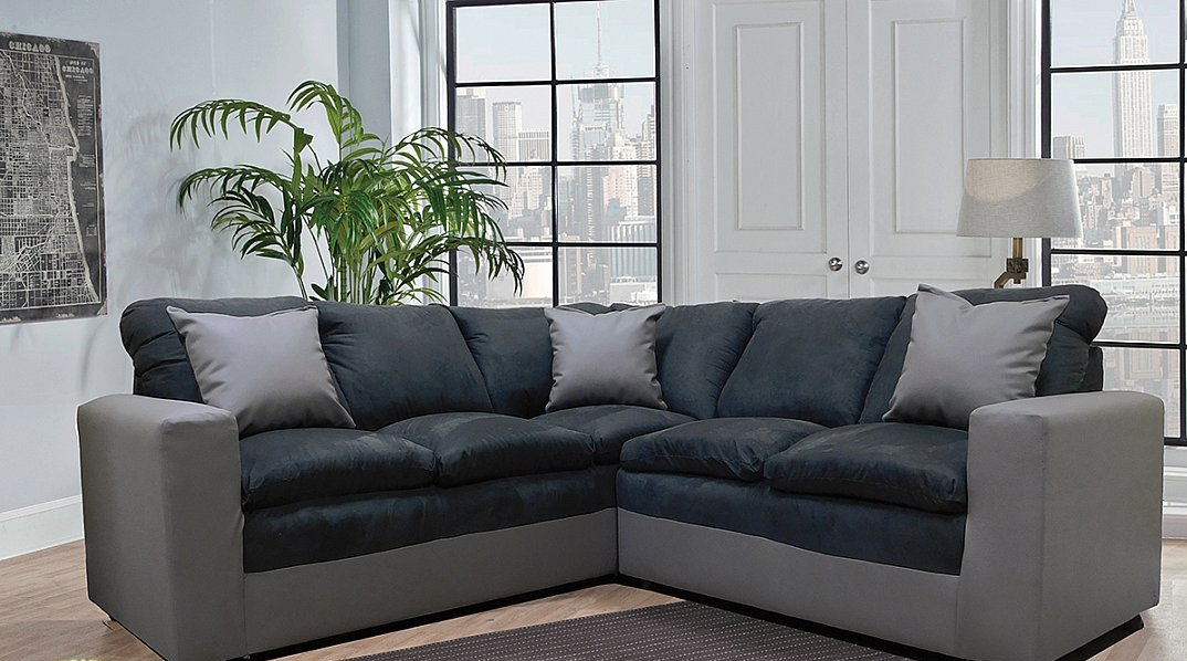 Contemporary Style In Two Tone Grey And Black Microfiber