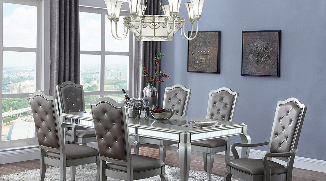 Glamour Style Dining In A Metallic Silver Finish Table And Chairs