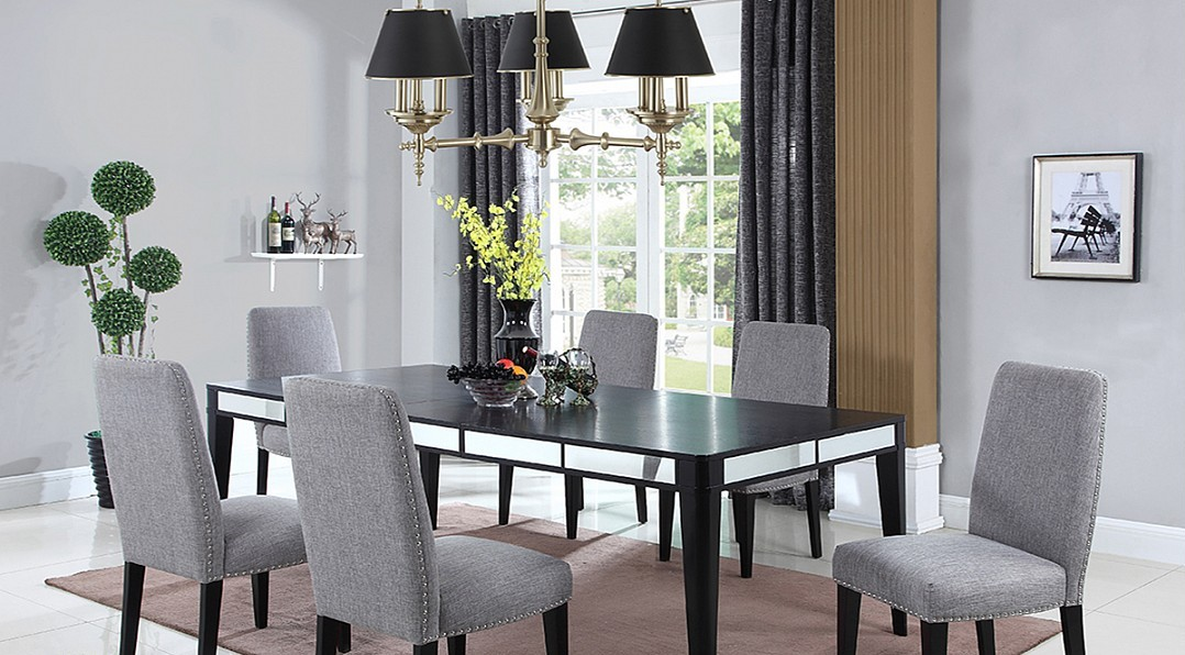 Black Matte Finish Dining Table, Modern Style Dining Room Chairs