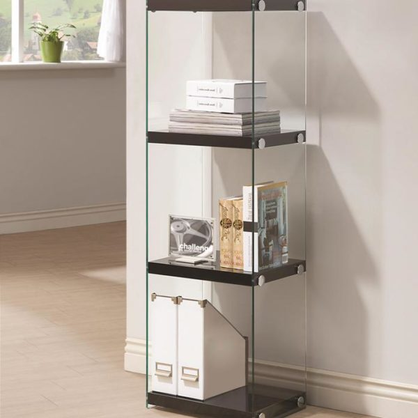 Contemporary Three Shelf Bookcase with Glass Shelves and  : Bookcases Contemporary Three Shelf Bookcase with Glass Shelves and Side Panels 600x600 from allnationsfurniture.com size 600 x 600 jpeg 34kB