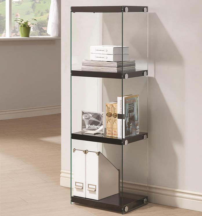 Contemporary Three Shelf Bookcase With Glass Shelves And Side Panels All Nations Furniture