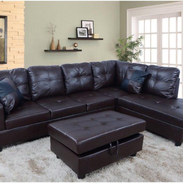 F093B U2013 Espresso Faux Leather Sectional With Storage Ottoman