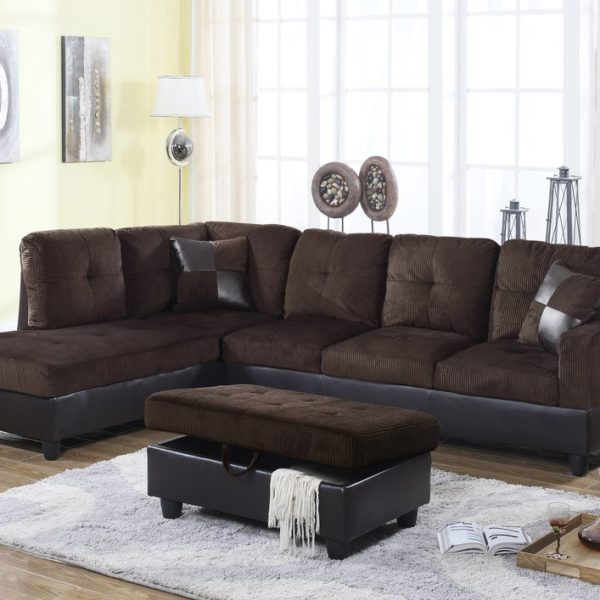 F114a Espresso Stripe Fabric Amp Faux Leather Sectional