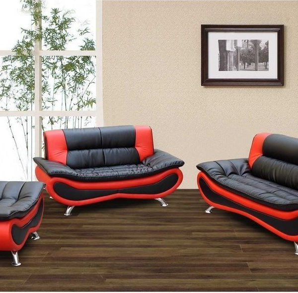 F048 – Black And Red Ceccina Modern Leather Sofa, Loveseat, and ...