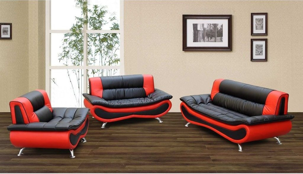 F048 - Black And Red Ceccina Modern Leather Sofa, Loveseat, and Chair